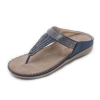 APTRO Women's Flip Flops Sandals Crystal Glamour Summer Toe Post Flat Ergonomic Beach Shoe Blue 2081-3 37-UK4