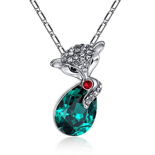 GoSparking cristallo verde placcato oro bianco della lega pendente della collana Fox 18K con il cristallo austriaco per le donne