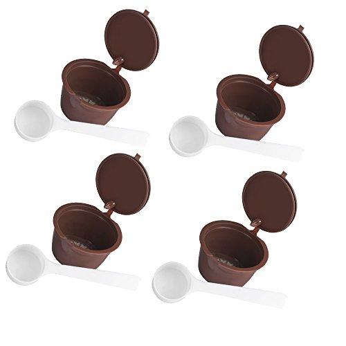 Capsule riutilizzabili di caffè capsule dolce gusto per nescafe genio piccolo esperta circolo (contengono cucchiai da caffè) (capsules 4)