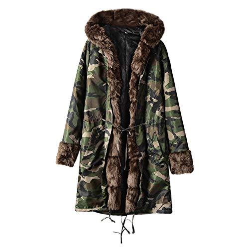 Staresen wintermantel Damen Plus Size Flauschige Jacke mit Kapuze Damen Kunstpelz Winterjacke Parka Kapuzenmantel Fishtail Long Sleeves Mantel wintermantel Damen flauschig