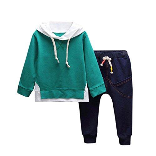Kindermode Kinderkleidung Longra Baby Kinder Junge Mädchen Bekleidung mit Kapuze Druck Langarmshirt Hoodie + Jeans Hosen Kinder Sports Kapuzenpullover Kleidung Set (100CM 2Jahre, Green) (Jeans Strass-kinder)