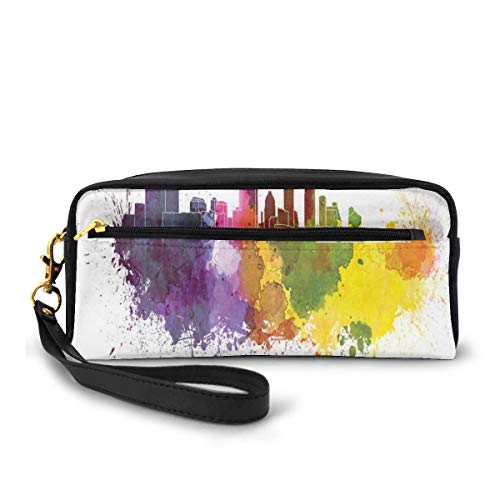 Pencil Case Pen Bag Pouch Stationary,Texas Capital Skyline In Watercolor Splatters With Clipping Path White Outlined,Small Makeup Bag Coin Purse