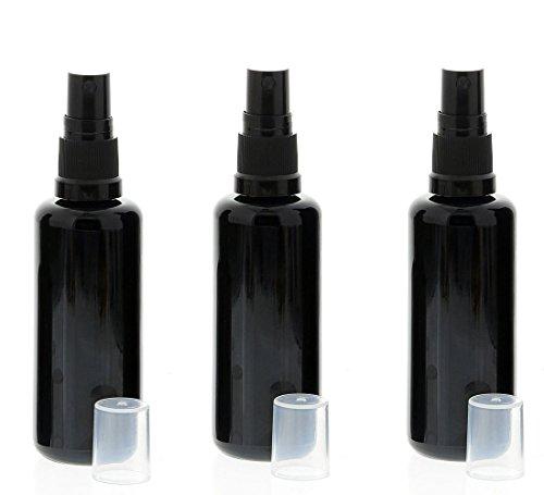 Violettglas Sprühflasche, stark lichtschützend, Miron Glas-Flasche mit Kosmetex schwarzen Pump-Zerstäuber, 3 x 50 ml