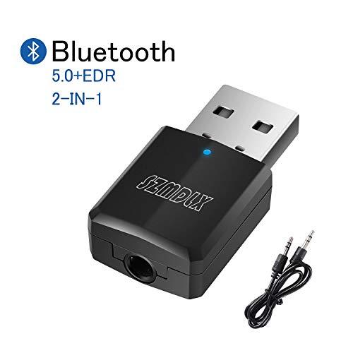 Bluetooth 5.0 Trasmettitore Ricevitore 2 in 1, SZMDLX Adattatore Wireless trasmettitore audio Bluetooth USB Adattatore Portatile Wireless per Streaming Audio con 3,5mm AUX per TV PC Altoparlanti Auto