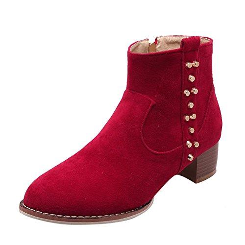 Mee Shoes Damen chunky heels Reißverschluss Ankle Boots Rot