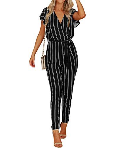 VONDA Jumpsuit Damen Elegant Sommer Overall V-Ausschnitt Kurzarm Einteiler Playsuit mit Bindegürtel schwarz EU36-38