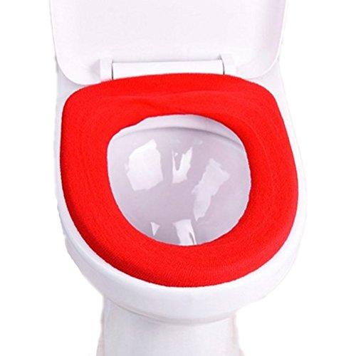 PIXNOR WC Toilette copertura lavabile panno del sedile coperchio Warmer copertura bagno ( Rosso brillante)