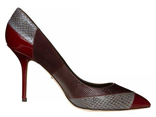 DOLCE&GABBANA Femmes Chaussures à talons hauts cuir véritable Bordeaux