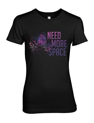need-more-space-astronaut-spaceman-donna-t-shirt-maglietta-nero-small