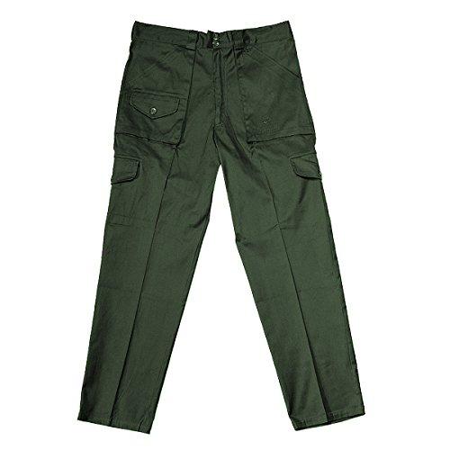 CBC pantalone estivo 100% cotone verde, 4 tasche e 2 portaccessori, per caccia