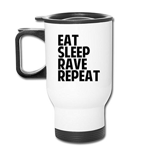 mzone Multifunktionale Auto Tasse Eat Sleep Rave Repeat Vakuum versiegelt Travel Tumbler weiß - Vakuum-versiegelt Mug Travel