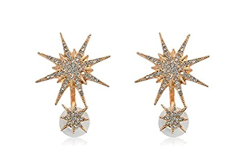 1 Pair Women Star Ear Stud Crystal Rhinestone Dangle Gold Earrings for Lady (Star A)
