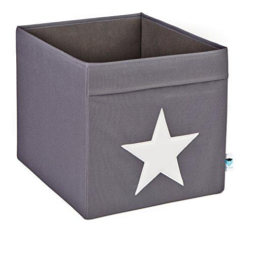 faltbox kinderzimmer STORE.IT 753689 große Ordnungsbox offen, Aufbewahrungsbox, passend für Kallax, Expedit, Polyester, 38 x 32 x 32 cm, grau mit weiߟem Stern