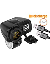 Fsskgx Doble Conector USB de Cargador rápido para Motocicleta 12V / 24V 4.2A Adaptador de Cargador de automóvil con tomacorrientes LED Voltímetro e Interruptor de Palanca de Encendido y Apagado