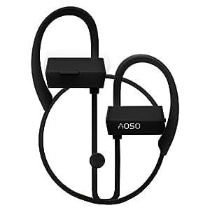 AOSO G18 Wireless Bluetooth V4.1 Auricolari In-Ear Stereo Sports Noise Cancelling Cuffie con Microfono TPU Ear Hooks Nero