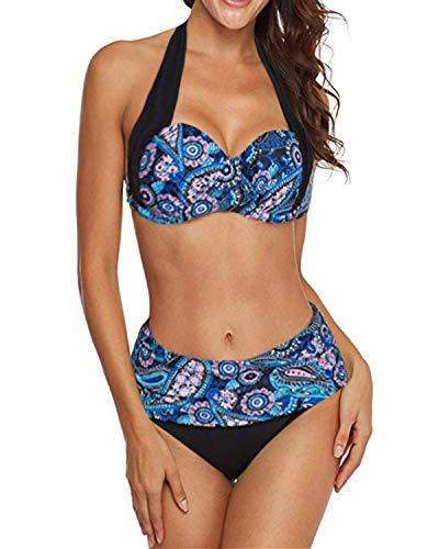 KISSLACE Damen Bikini Set Push Up Gepolstert Cups Mit Bügel Bandeau Blumen Badeanzug Bademode Monokini Zweiteilige Hoher Taille X-Blau L -