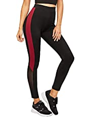 BLINKIN Mesh Yoga Gym Zumba Workout and Active Sports Fitness Black Polyester Leggings Tights with Mesh for Women|Girls(1869)