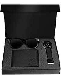 Lorenz Combo of Black Wallet, Watch and Black Sunglasses for Men- CM-103SN-WL-BLK