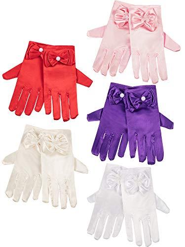 Zhanmai 5 Paare Mädchen Seidige Satin Schick Handschuhe Handgelenk Länge Prinzessin Dress up Bögen Formelle Handschuhe für Alter über 3 Jahre, 5 ()