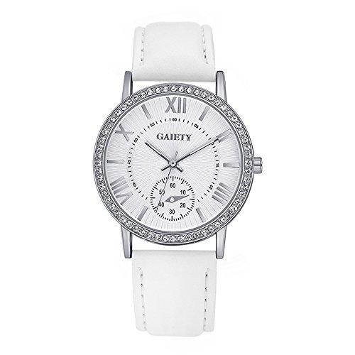 Damen Silber Farbe Wählen Armbanduhr Lederarmband Damenuhr Analog Quartz Uhr Weiß