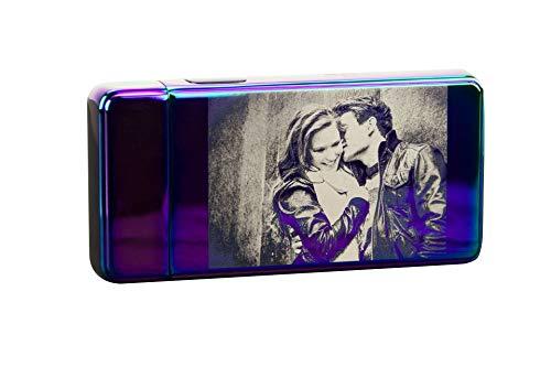 TESLA Lighter T13 elektronisches Lichtbogen Feuerzeug, Regenbogen mit Ihrem Foto, als Logo-Gravur, Bilder-Gravur, Motiv-Gravur. Personalisiertes Geschenk
