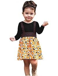 ☀☀Camisas para Bebés Niño,Bebés Recién Nacidos Solid Tops Pumpkin Prin Falda General Conjuntos De Ropa De Halloween