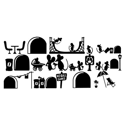 Hacoly Maus Wandaufkleber Ratte Familien Wandsticker Küche Glasfenster DIY selbstklebend Aufkleber Wandtattoo Esszimmer Wanddeko Ideal für die Dekoration Ihres Hauses - 25 * 55cm