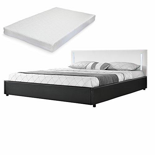 [my.bed] Elegantes LED Polsterbett mit Kaltschaum-Matratze (H2) – 180x200cm – Kunst-Leder (weiß/schwarz) – Bett/Doppelbett / Bettgestell inkl. Lattenrost