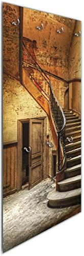 Wallario Wandgarderobe aus Glas in Größe 50 x 125 cm in Premium-Qualität, Motiv: Rustikale Holztreppe | 7 Kleiderhaken zum Aufhängen von Jacken (Burg-jacken)