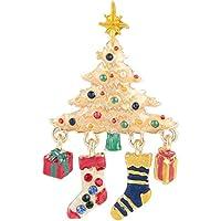 Ever Faith Albero di Natale Calze Gift Box Gold-Tone Spilla austriaco di cristallo N04541-2 - Bambino Epoca Spilla Gioiello