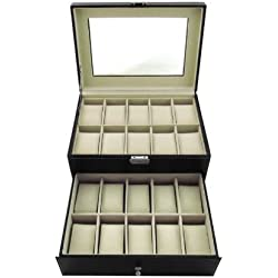 Watch Box for 20 Watches Uhrenvitriene Watch Case Leather Black