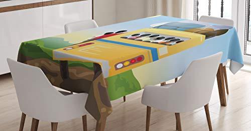 ABAKUHAUS Karikatur Tischdecke, Überfüllten gelben Bus, Für den Inn und Outdoor Bereich geeignet Waschbar Druck Klar Kein Verblassen, 140 x 170 cm, Mehrfarbig -