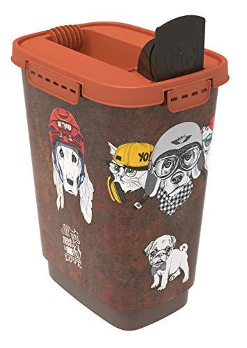 Rotho 4002110531Caja para Comida para Animales de plástico (PP)–Cody trockenfutter, 10L, S, marrón/Naranja