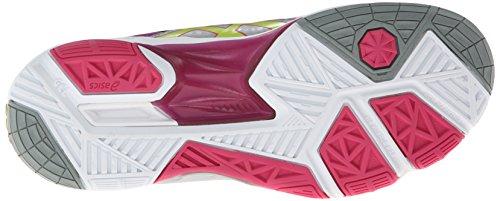 Asics Womens Gel Sensei 5 Volley Ball Shoe White-Magenta-Lime