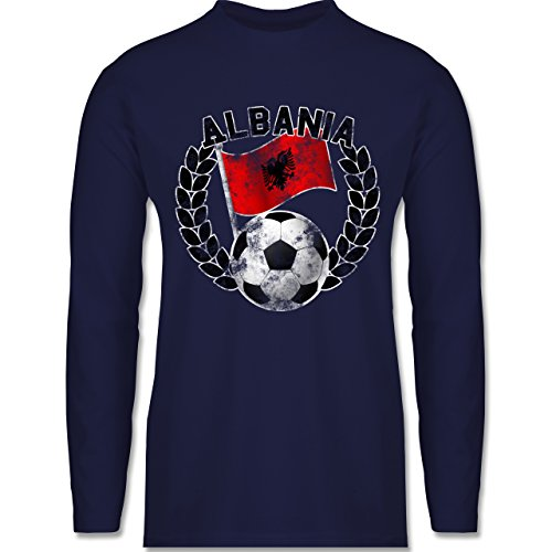 EM 2016 - Frankreich - Albania Flagge & Fußball Vintage - Longsleeve / langärmeliges T-Shirt für Herren Navy Blau