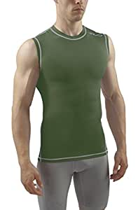 Sub Sports Dual Men's Compression Baselayer Sleeveless Top - Green, Small