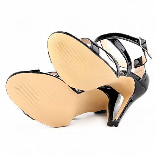 HooH Femmes Sexy Hollow Out Peep Toe Boucle Stiletto Escarpins Sandales Noir