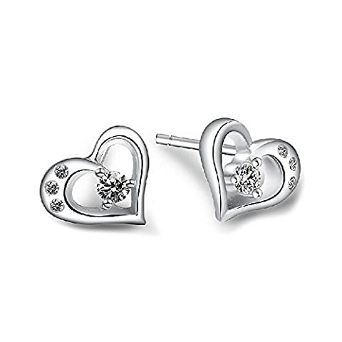 LANMPU 925 Sterling Silver - Synthetic Inlay Heart Stud Earrings Studs For Women Girls - Diamond Cubic Zirconia