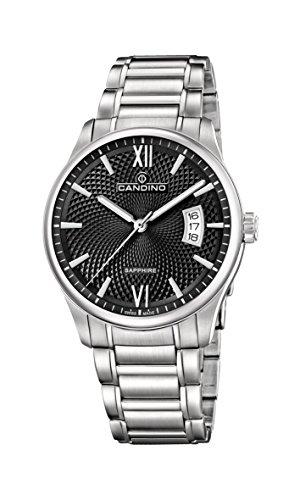 Candino Herren Datum klassisch Quarz Uhr mit Edelstahl Armband C4690/3