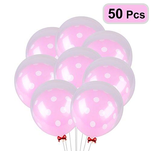 NUOLUX 25 piezas de 12 pulgadas de color rosa de lunares de látex globo y 25 piezas de 12 pulgadas de globo transparente para la boda de la decoración de fiesta de cumpleaños
