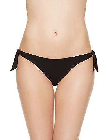 EONAR Femme Cravate latérale Tong Maillots de bain Brésilien Bas Bikini Shorts (S,Black)