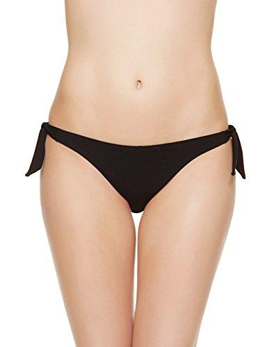 EONAR Damen Niedriger Bund Bikinihosen Seitlich zu binden Brazil-Bikinislip, Schwarz, S(34-36in)