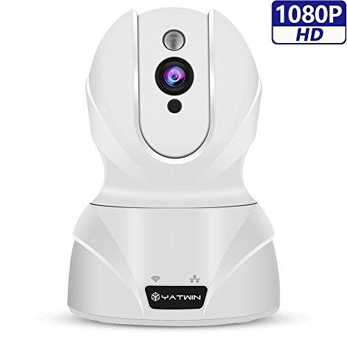 Caméra IP 1080p YATWIN,Caméra de Surveillance WIFI Babyphone Vidéo Sans Fil avec Audio Bidirectionnel, Vision Nocturne, Détection de Mouvement à Distance, 8 Fois Zoom Numérique Alerte d'information-- Blanc