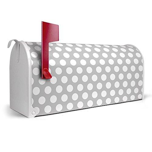 banjado-weier-Amerikanischer-Briefkasten-USA-Mailbox-17cm-x-22cm-x-51cm-mit-Motiv-Punkte-Grau