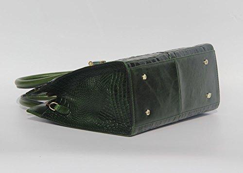 jsix Femme en Cuir Véritable Crocodile en relief Sacs à main Sac à bandoulière Marron - vert