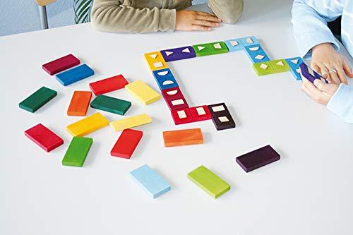 Jeu de Domino bois couleurs et formes