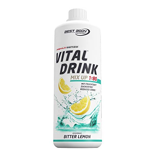 Best Body Nutrition Vital Drink Bitter Lemon, Getränkekonzentrat, 1000 ml Flasche