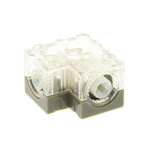 Bausteine gebraucht 1 x Lego Technic Getriebe Box 3x3x1 2/3 transparent Weiss alt-dunkel grau Zahnrad Schnecke Umsetzer L Verbinder Gearbox 4095 45360 -