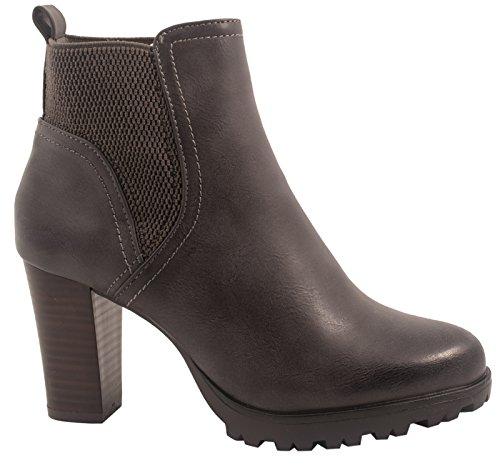 Elara Ankle Boots | Trendige Damen Stiefeletten | Blockabsatz Plateau | Chunkyrayan 949-GA-Grau-38