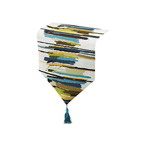 Tong Yue Bunt gestreift Polyester Tischläufer mit Quasten, Textil, blau/grün, 32x220cm (Candy Blau Und Buffet Grün)